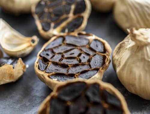 Black garlic cut in half