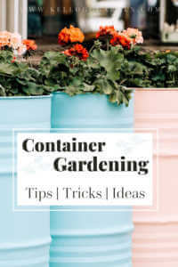 """Pastel blue and pink barrels used as container gardens with text, """"Container garden. Tips, tricks, ideas"""""""