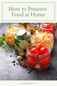 "Jars of canned vegetables with text, ""how to preserve food at home"""
