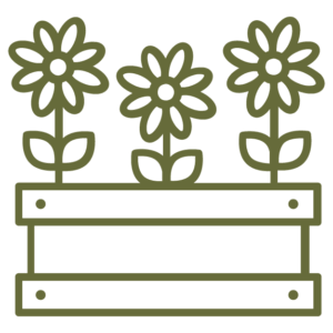 flowers in a raised bed icon