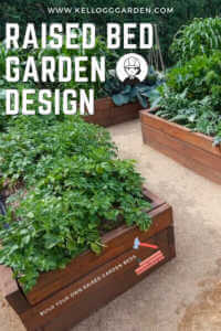 """Image with multiple raised beds and text reading, """"Raised Bed Garden Design"""""""