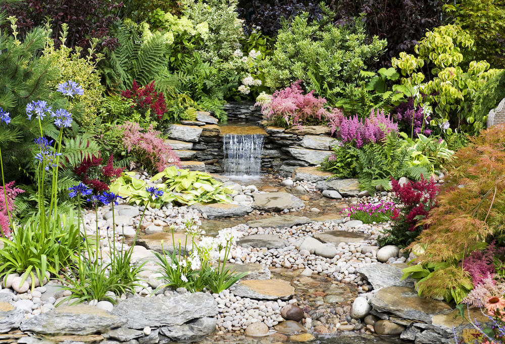Flower garden with water feature
