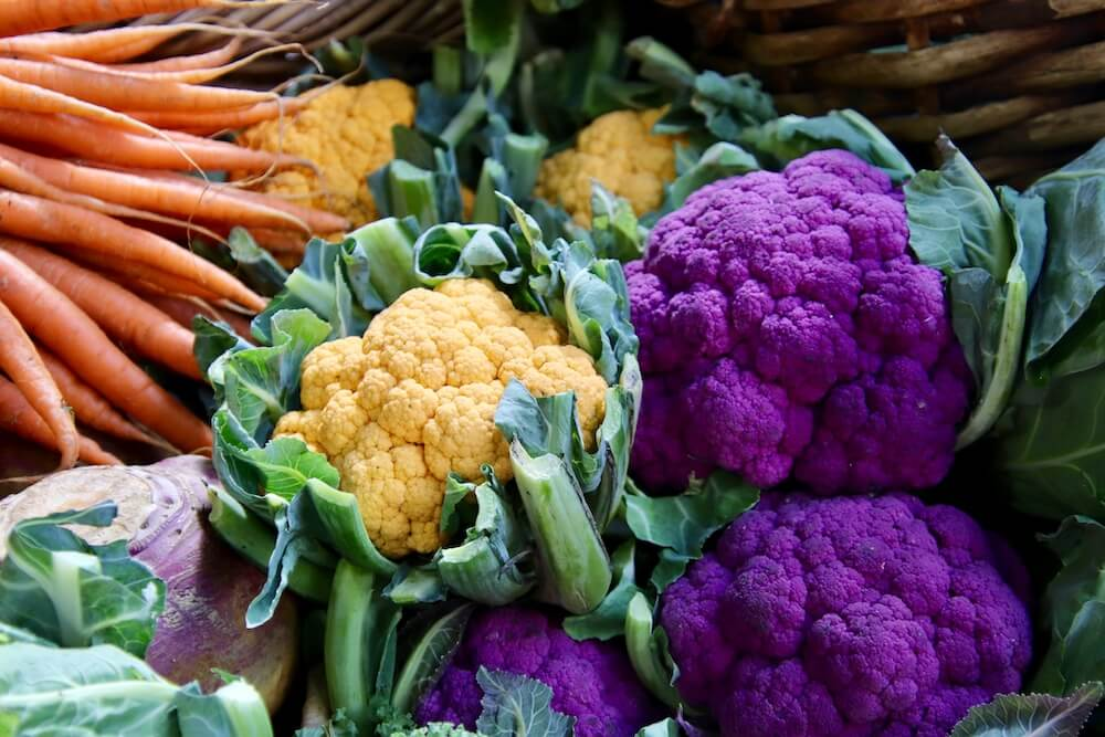 yellow and purple cauliflower orange carrots