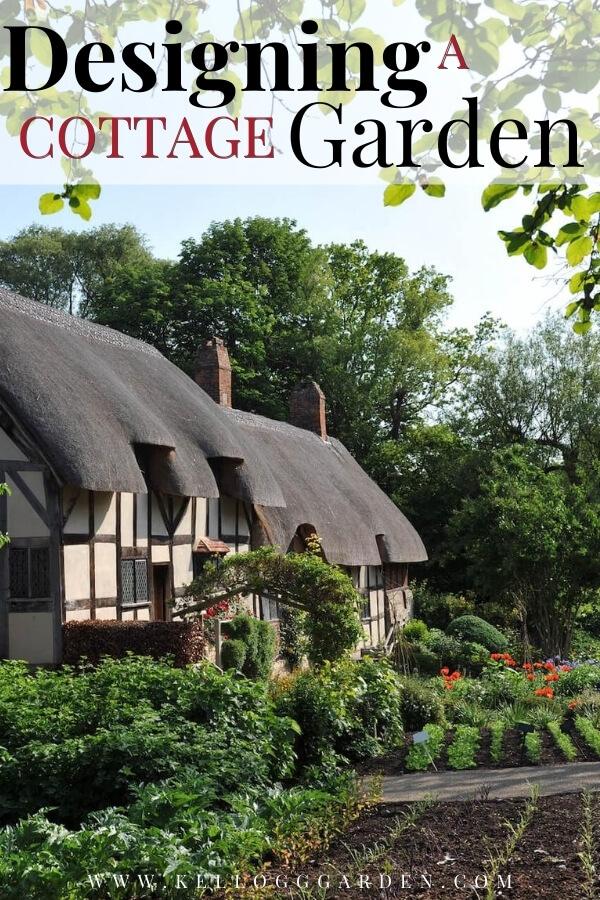 """Cottage garden with text, """"Designing a cottage garden"""""""