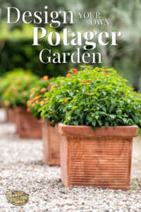 """Pots lining a gravel walkway with text, """"Design your own potager garden"""""""