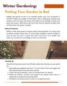 Putting your garden to bed page from fall and winter gardening guide.