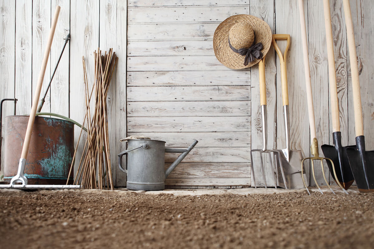 gardening tools on wooden white wall.