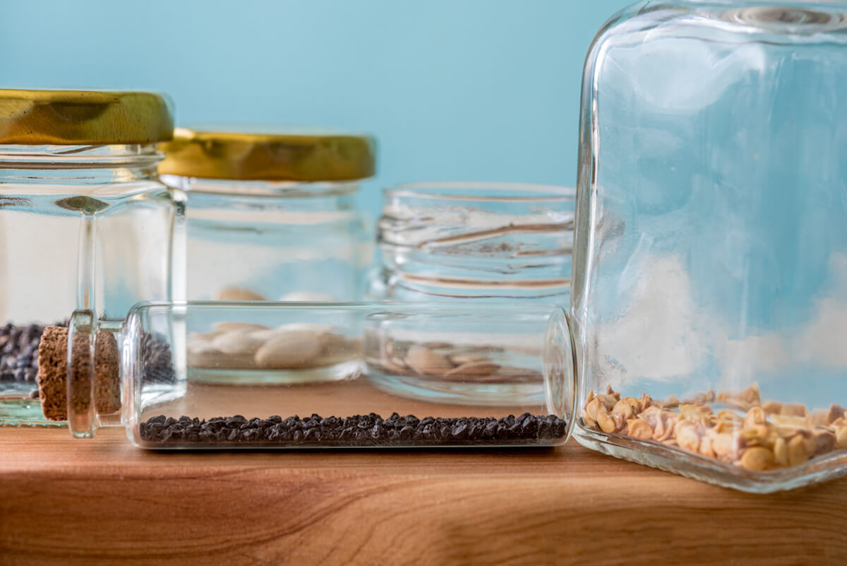 Organic Vegetable Seeds in Glass Container