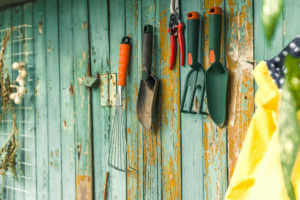 gardening tools hanging on the wall.