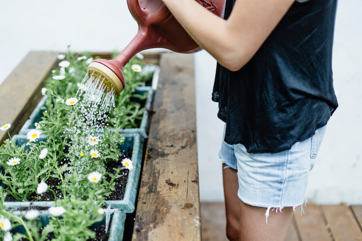 A young woman watering her flowers on a patio garden.