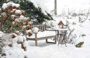 Garden with wooden bench,bird feeder on the side table and stone goose in a winter landscape with snow.