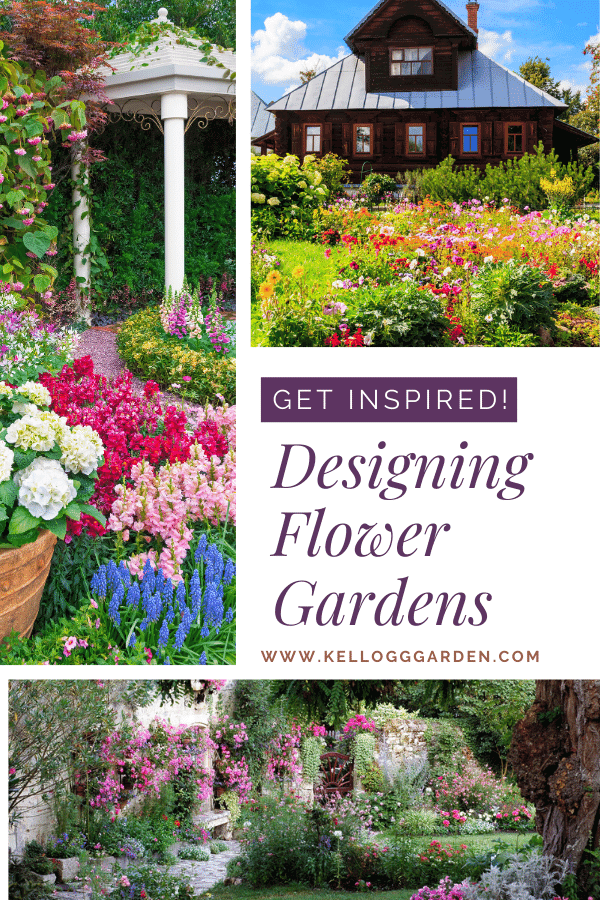 Multiple images of different flower gardens.