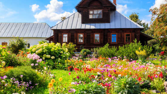 Old wooden log house in a Russian village