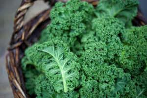 Kale in rustic basket