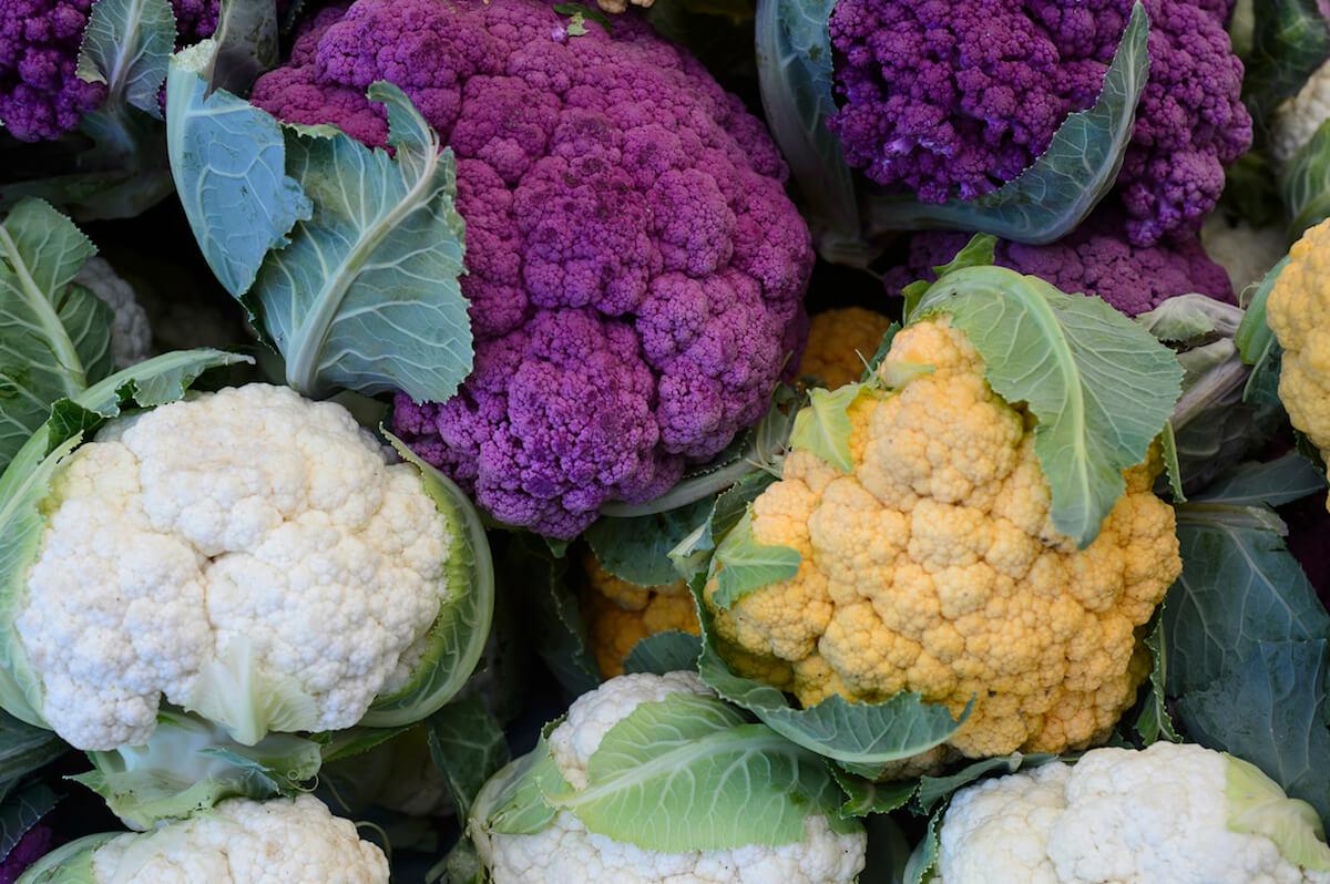 Close-up of Multicolored Organic Cauliflower