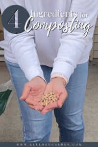 Woman holding pine pellets in backyard with compost bin in background.
