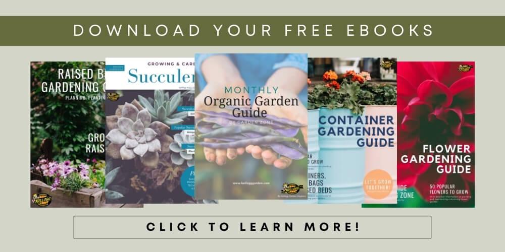 Kellogg Garden Organics 5 ebook covers displayed on a green background.