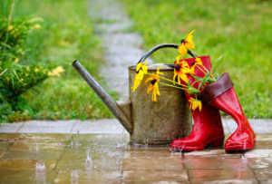 Rain boots and garden tools under the rain.