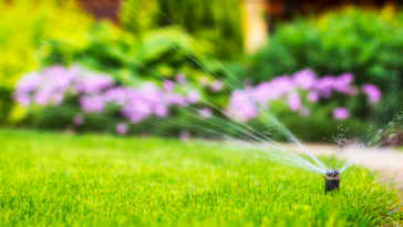 sprinkler system watering the lawn on a background of green grass