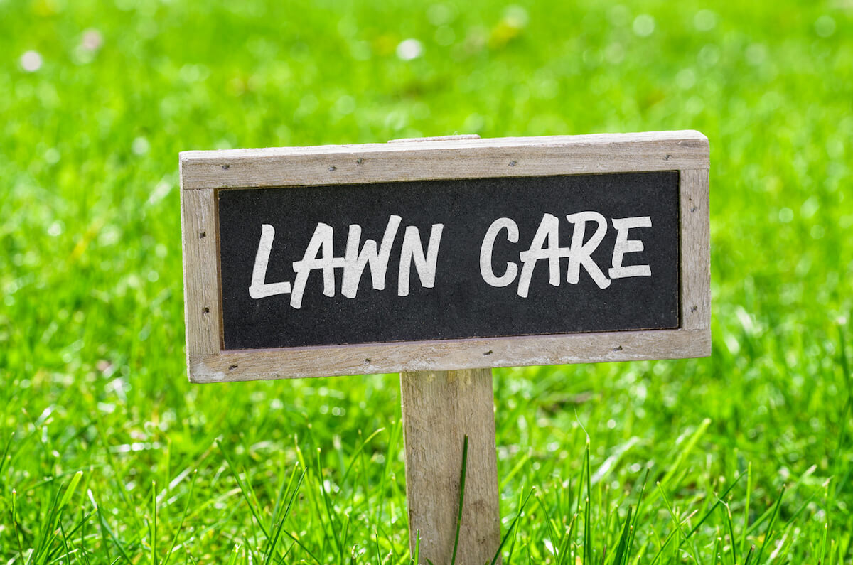 Lawn Care sign on green lawn