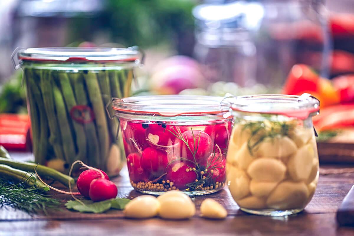 fermented vegetables in glass jars