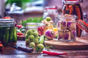vegetables preserved in jars