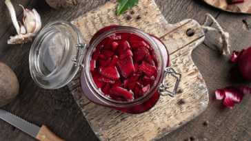 fermented red beets in a glass jar