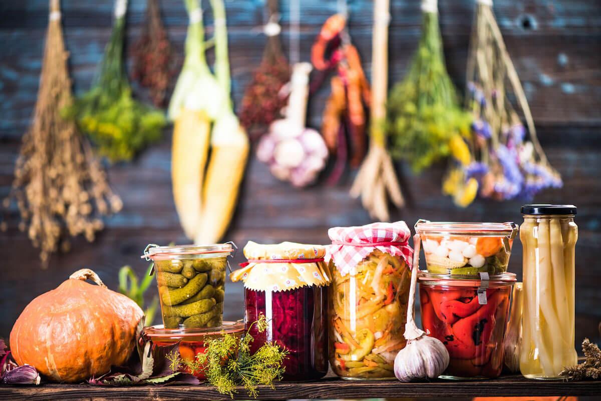 fermented vegetables on shelves.