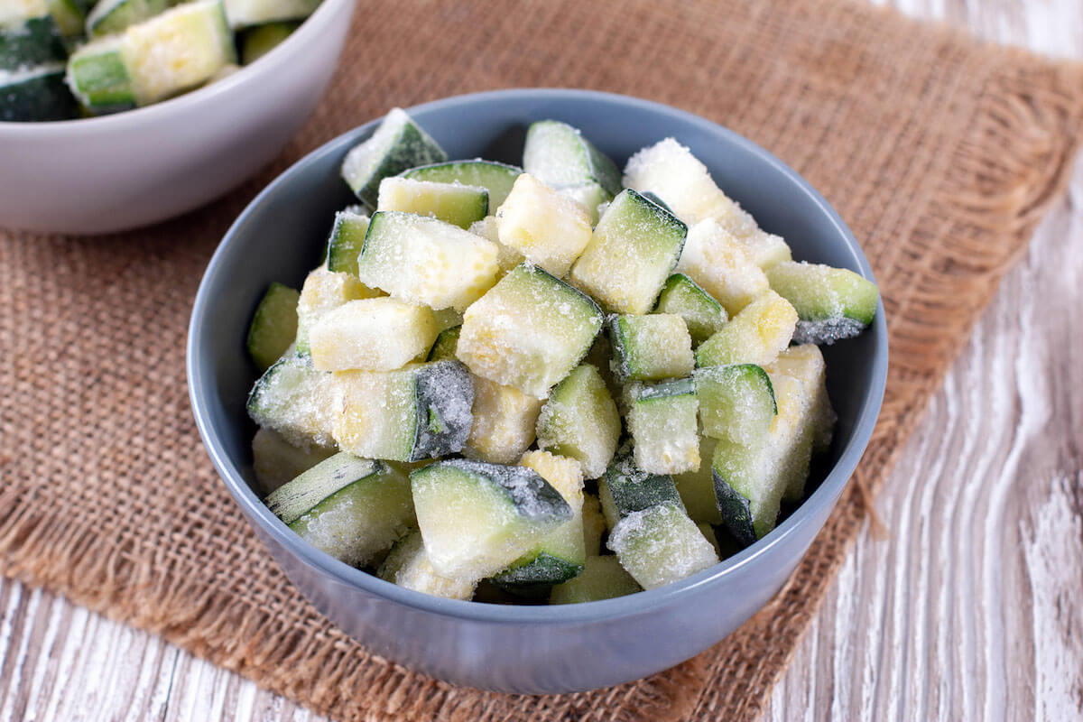 frozen pieces of zucchini in a bowl